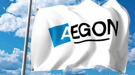 Waving flag with Aegon N.V. logo against clouds and sky. Editorial 3D rendering