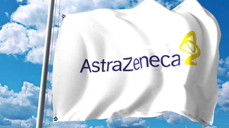 Waving flag with AstraZeneca logo against clouds and sky. Editorial 3D rendering