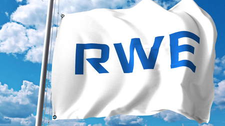 rwe: Waving flag with RWE AG logo against clouds and sky. Editorial 3D rendering