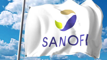 Waving flag with Sanofi logo against clouds and sky. Editorial 3D rendering