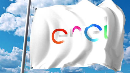 Waving flag with Enel logo against clouds and sky. Editorial 3D rendering Редакционное