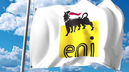 Waving flag with Eni S.p.A. logo against clouds and sky. Editorial 3D rendering