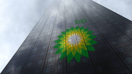 BP logo on a skyscraper facade reflecting clouds. Editorial 3D rendering Editorial