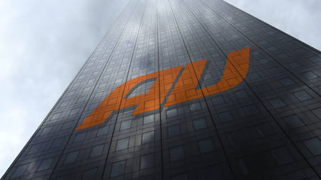 au mobile phone company logo on a skyscraper facade reflecting clouds. Editorial 3D rendering