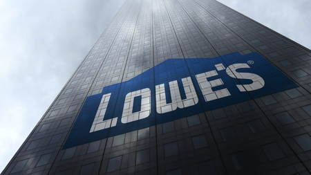 Lowes logo on a skyscraper facade reflecting clouds. Editorial 3D rendering Editorial