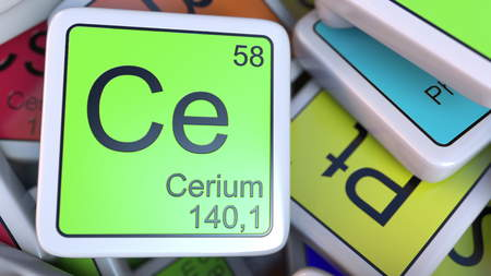 Cerium Ce block on the pile of periodic table of the chemical elements blocks. 3D rendering