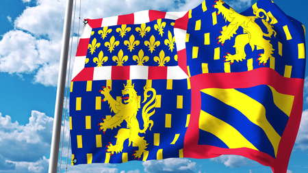 Waving flag of Bourgogne-Franche-Comte, a region of France. 3D rendering