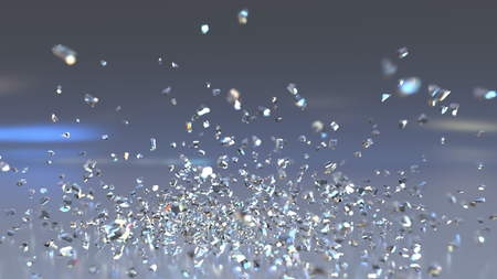 유리 떨어지고 및 산산 조각입니다. 3D 렌더링