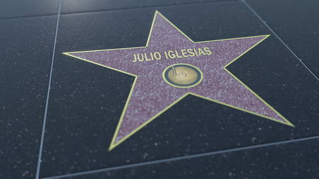 Hollywood Walk of Fame star with JULIO IGLESIAS inscription. Editorial 3D rendering