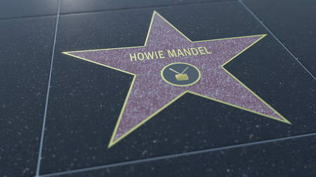 Hollywood Walk of Fame star with HOWIE MANDEL  inscription. Editorial 3D