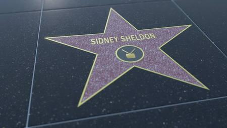 Hollywood Walk of Fame star with SIDNEY SHELDON  inscription. Editorial 3D Editöryel