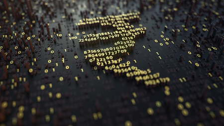 Indian rupee INR sign made of golden numbers. 3D rendering