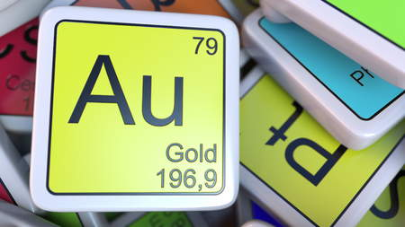 Gold Au block on the pile of periodic table of the chemical elements blocks. 3D rendering
