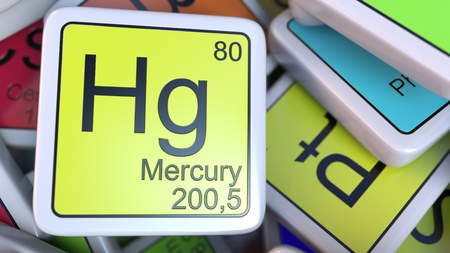 Mercury Hg block on the pile of periodic table of the chemical elements blocks. 3D rendering