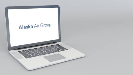 Opening and closing laptop with Alaska Air Group logo. 4K editorial 3D rendering