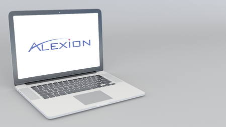 Opening and closing laptop with Alexion Pharmaceuticals logo. 4K editorial 3D rendering