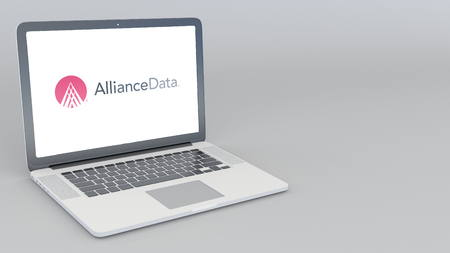 Opening and closing laptop with Alliance Data logo. 4K editorial 3D rendering