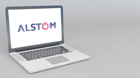 Opening and closing laptop with Alstom logo. 4K editorial 3D rendering Editorial