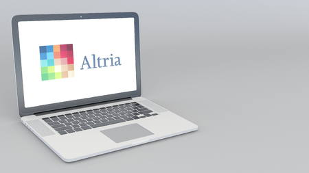 Opening and closing laptop with Altria logo. 4K editorial 3D rendering