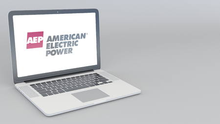 Opening and closing laptop with American Electric Power logo. 4K editorial 3D rendering