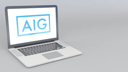Opening and closing laptop with American International Group logo. 4K editorial 3D rendering Editorial