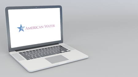 Opening and closing laptop with American Water logo. 4K editorial 3D rendering