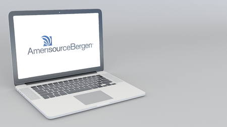 Opening and closing laptop with AmerisourceBergen logo. 4K editorial 3D rendering