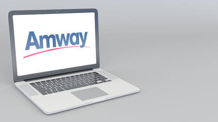 Opening and closing laptop with Amway logo. 4K editorial 3D rendering Editorial