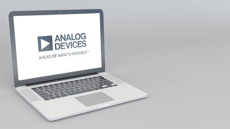 Opening and closing laptop with Analog Devices logo. 4K editorial 3D rendering
