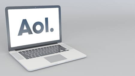 Opening and closing laptop with AOL logo. 4K editorial 3D rendering Editorial
