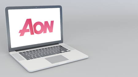 Opening and closing laptop with Aon Plc logo. 4K editorial 3D rendering
