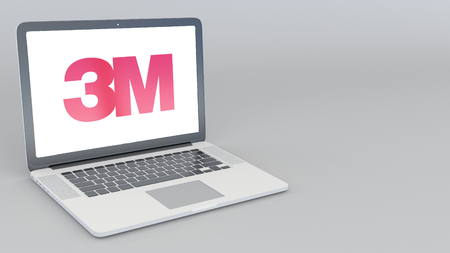 Opening and closing laptop with 3M Company logo. 4K editorial 3D rendering