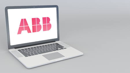 Opening and closing laptop with ABB Group logo. 4K editorial 3D rendering