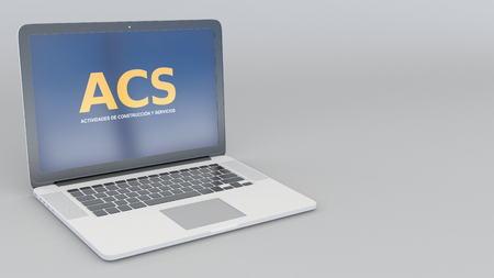 Opening and closing laptop with ACS Actividades de Construccion y Servicios logo. 4K editorial 3D rendering Editorial