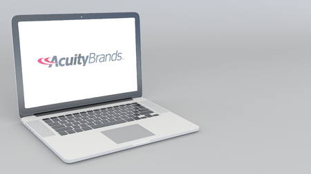 Opening and closing laptop with Acuity Brands logo. 4K editorial 3D rendering Editorial