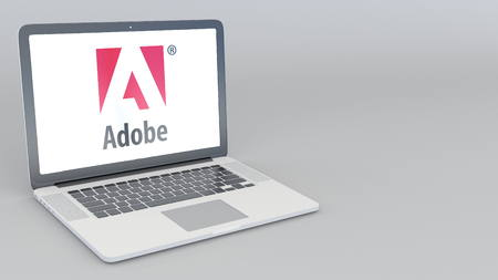 Opening and closing laptop with Adobe Systems logo. 4K editorial 3D rendering Editorial