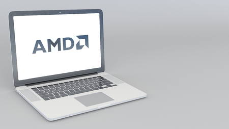 Opening and closing laptop with Advanced Micro Devices AMD logo. 4K editorial 3D rendering
