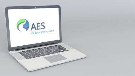 Opening and closing laptop with Aes Corporation logo. 4K editorial 3D rendering