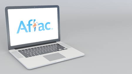 Opening and closing laptop with Aflac logo. 4K editorial 3D rendering