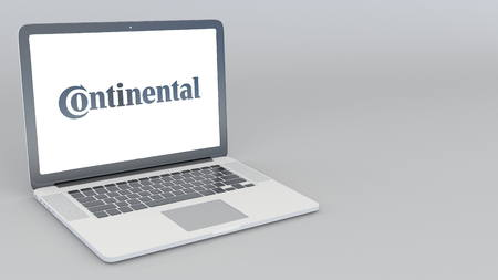 Opening and closing laptop with Continental logo. 4K editorial 3D rendering
