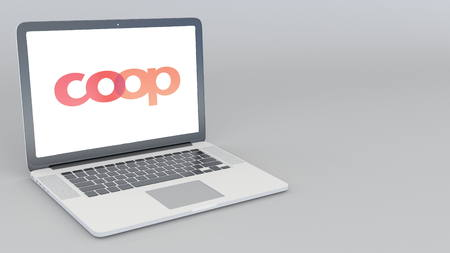 Opening and closing laptop with Coop Cooperative logo. 4K editorial 3D rendering