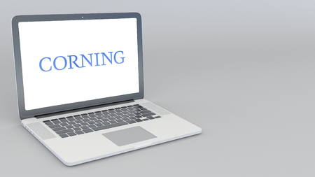 Opening and closing laptop with Corning Inc logo. 4K editorial 3D rendering Editorial