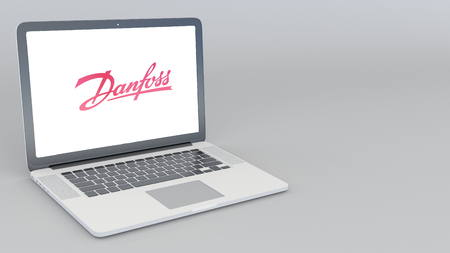 Opening and closing laptop with Danfoss Power Solutions logo. 4K editorial 3D rendering