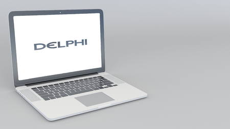 Opening and closing laptop with Delphi Automotive logo. 4K editorial 3D rendering