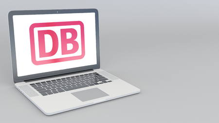 Opening and closing laptop with Deutsche Bahn AG logo. 4K editorial 3D rendering