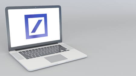 Opening and closing laptop with Deutsche Bank AG logo. 4K editorial 3D rendering