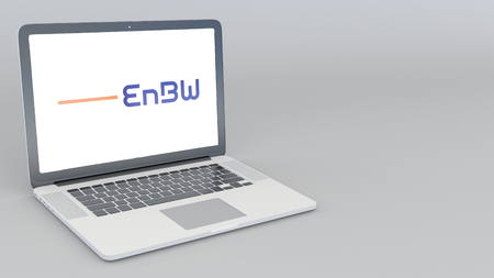 Opening and closing laptop with EnBW Energie Baden-Wurttemberg AG logo. 4K editorial 3D rendering