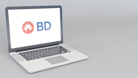 Opening and closing laptop with Becton Dickinson logo. 4K editorial 3D rendering