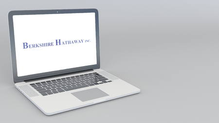 Opening and closing laptop with Berkshire Hathaway logo. 4K editorial 3D rendering