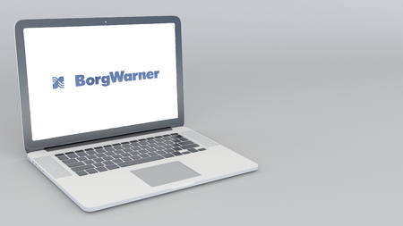 Opening and closing laptop with BorgWarner logo. 4K editorial 3D rendering Editorial